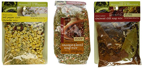 Frontier Soups 100% Natural Homemade In Minutes Gluten-Free Soup Mix 3 Flavor Variety Bundle: (1) Florida Sunshine Red Pepper Corn Chowder Mix, (1) Indiana Harvest Sausage & Lentil Soup Mix, and (1) Midwest Weekend Cincinnati Chili Mix, 5-16 Oz. Ea.
