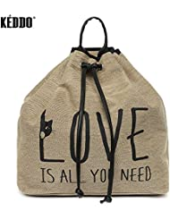 KEDDO Fancy Beige Twill Naval Backpack for Woman.Causal Travel Lifestyle College/University Rucksack for Girls