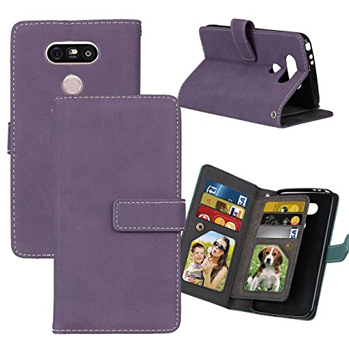 LG G5 Case, Ranyi [Matte Leather Wallet] [9 Card Slots] [2 Photo Slot] Luxury Hand-stitching Dual Layer Matte Leather Flip Wallet Case for LG G5 (2016 Release), purple ()