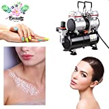 GC Global Direct Dual Action Airbrush Kit Tattoo/Makeup/Nail Art Air Compressor (Air Compressor Twin Cylinder 3.5L)