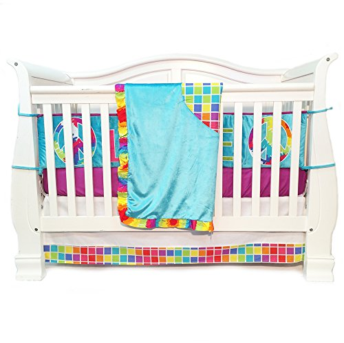 One Grace Place Terrific Tie Dye Infant Crib Bedding Set, Aqua Blue/Royal Blue/Purple, 4 Piece (Aqua And Purple Crib Bedding)