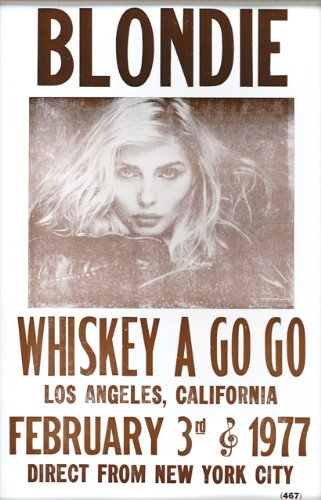 """Blondie at Whiskey A Go Go 1977 14"""" X 22"""" Vintage Style Concert Poster"""