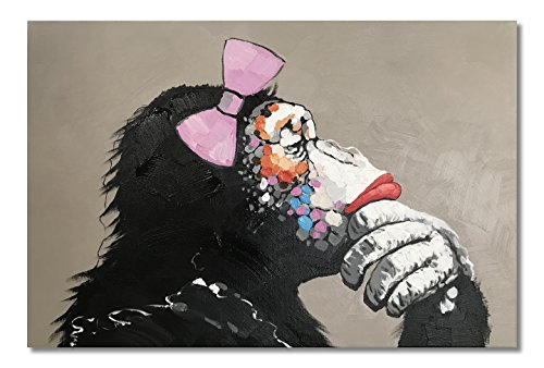 - Paimuni Female Gorilla Monkey Paintings, 100% Hand Painted Cute Chimp Canvas Oil Painting Stretched and Framed Ready to Hang Living Room Bedroom Office Bathroom 36
