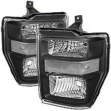 RXMOTOR HL-FD411080BK Ford F250 F350 F450 Headlights Lamps Off Road Used Custom Made Retrofit 2008-2010, Clear Black