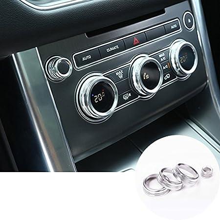 HOTRIMWORLD Red Interior Center Console Air Conditioner /& Audio Knob Trim Cover 4pcs for Land Rover Range Rover Sport 2014-2017