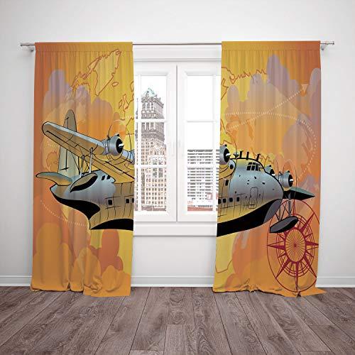 SCOCICI Satin Window Drapes Kitchen Curtains [ Vintage Airplane Decor,Retro Seaplane in Sky World Map Compass Adventure Travel Journey Decorative,Multicolor] Bedroom Living Room Dorm Kitchen Cafe for $<!--$78.99-->