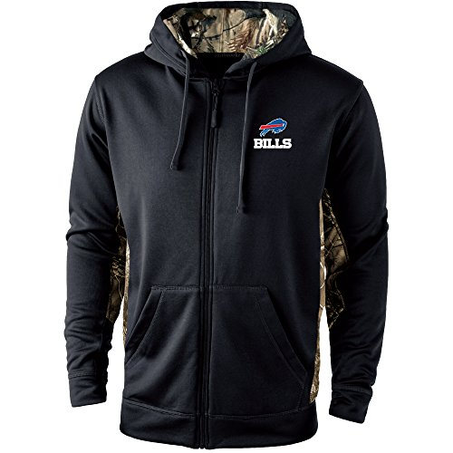 Dunbrooke Apparel NFL Buffalo Bills Mens 5411Decoy Camo Accent Fullzip Tech Fleece, Black with Camo, (Buffalo Bills Mens Jackets)