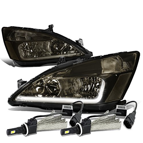 For Honda Accord 7th Gen UC1 Smoked Lens Clear Corner Headlight W/DRL Strip + 9006 LED Conversion Kit ()