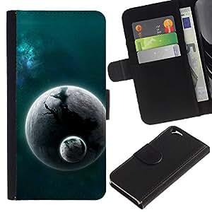 EJOY---La carpeta del tirón la caja de cuero de alta calidad de la PU Caso protector / Apple Iphone 6 / --Espacio Planet Galaxy Estrellas 25