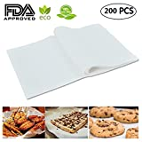 Mity Rain (200 Sheets) Non-Stick square Parchment Paper Baking Sheets Baking Paper Liners, 8''x12'' inch