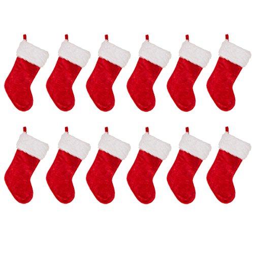 Glitzhome Traditional Red Plush Santa Christmas Stocking (stocking set of 12) Review