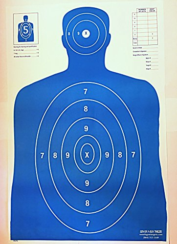 Son of A Gun Paper Shooting Targets, HIGH Shot Placement Visibility, Life Size B-27 Silhouettes, Bright Blue Package, 100 Total Count, GET More Bang for Your Buck! Best Prices Anywhere!