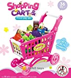 deAO Children Shopping Cart Trolley PlaySet Includes 50 Grocery Shop Accessories Available in Two Colours (PINK)
