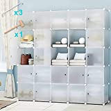 Honey Home Wardrobes Closets, Portable Closet Bedroom, Plastic DIY Modular Cabinet Shelving Storage Organizer Easy Closed Doors - 25 Cubes