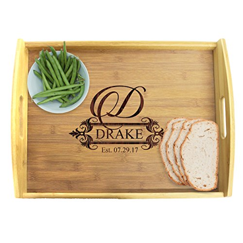 Engraved Wooden Serving Platter Tray with Handles - Personalized and Custom Monogrammed for -
