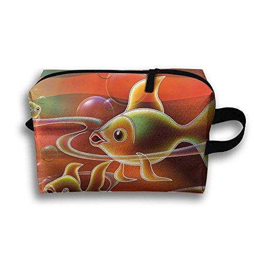 Fish Art Travel Bag Cosmetic Bags Brush Pouch Portable Makeup Bag Zipper Wallet Hangbag Pen Organizer Carry Case Wristlet Holder