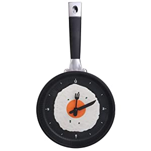 Electomania® Modern Egg Frying Pan Clock Cutlery Kitchen Wall Clock Decoration Yellow
