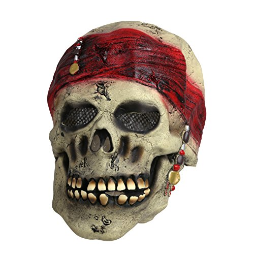 Halloween Pirate Masks (SMAYS Pirates Skull Mask With Red Bandana, Latex Scary For Halloween Adults Men)
