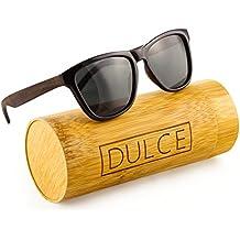 Polarized Wayfarer Sunglasses By Dulce | Handmade Rose Wooden Sunglasses, UAV UAB Protective with Bamboo Sunglasses Case