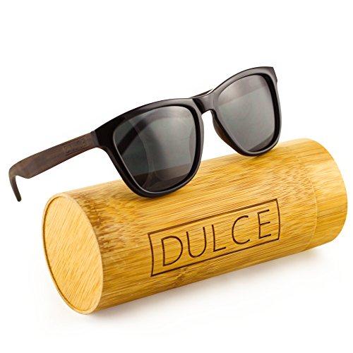 Dulce Polarized Wayfarer Sunglasses By Handmade Rose Wooden Sunglasses, UAV UAB Protective with Bamboo Sunglasses Case