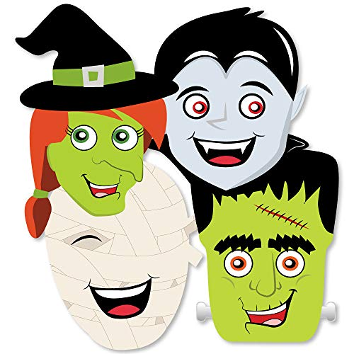 Halloween Monsters - Mummy, Vampire, Frankenstein & Witch Decorations DIY Halloween Party Essentials - Set of 20 -