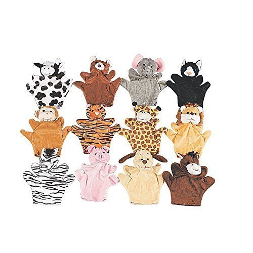 Fun-Express-Preschool-Kindergarten-Velour-Animal-Finger-Puppets-Kids-Toy