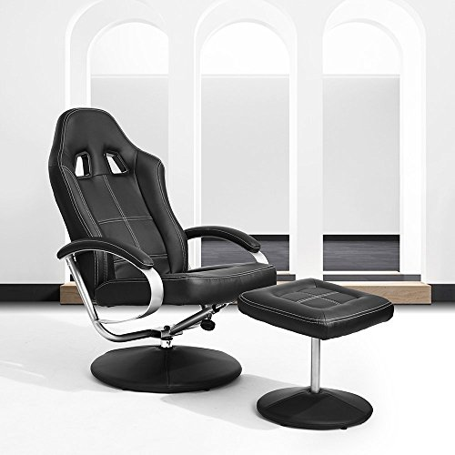 HOMY CASA Homycasa Leisure Office Recliner Chair Ergonomic Design Racing Style Task Chair High-back with foot stool Ottoman Black - Chair Leisure Contemporary