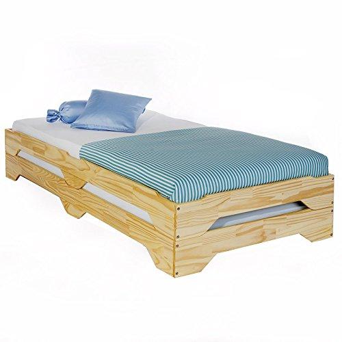 Stapelbetten Set Doppelbett Einzelbett Gästebett Bett RONNY Kiefer massiv natur lackiert 90 x 200 cm (B x L)