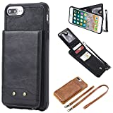 Shinyzone Leather Back Case for iPhone 7 Plus,Removable Wrist Strap & Neck Strap Metal Buckle Premium PU Flip Wallet Case with Card Holder Cover for iPhone 8 Plus,Black