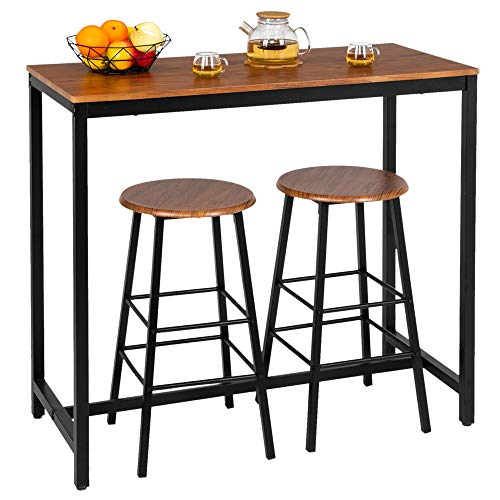 Bonnlo 3 Piece Counter Height Table Set Kitchen Bar Table Set with 2 Stools Breakfast Bistro Set Dining Table Set for 2