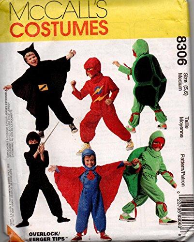 [Boys Super Hero Costume Sewing Pattern McCalls 8306 Size 5,6 Ninja, Batman, Superman, Ninja Turtle] (Turtles Suit)