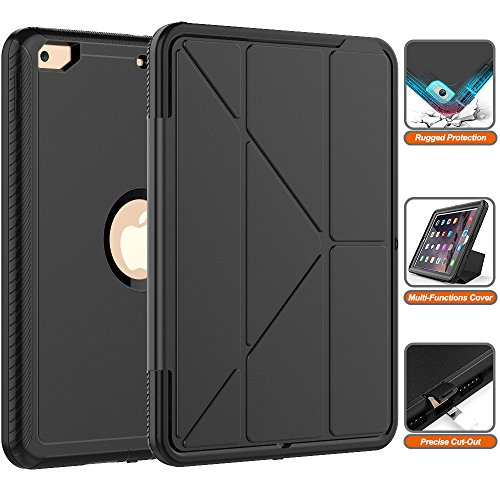 iPad 6th/5th Generation Case- Heavy Duty Full-Body [Smart Case] with Trifold Stand and Auto Sleep/Wake Dual Layer Protective Defense Cover for Apple iPad 9.7'' (2018/2017 Release) [All Black] by SXTech