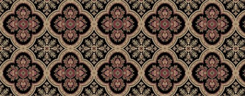 5' Dynasty Collection (Kane Carpet - Dynasty Collection - Black Ming - HALF ROUND 5'X2'6