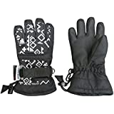 N'Ice Caps Kids Scroll Print Waterproof Thinsulate Insulated Winter Snow Gloves (4-5yrs, Black)