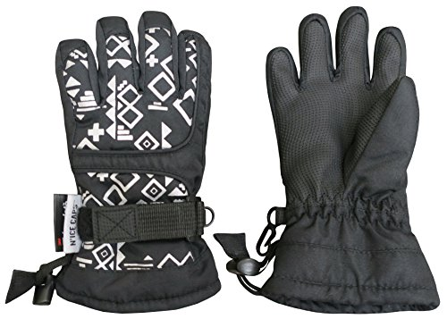 NIce Caps Kids Scroll Print Waterproof Thinsulate Insulated Winter Snow Gloves (7-8yrs, Black)
