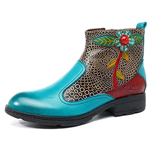 Socofy Leather Ankle Bootie, Women's Vintage Handmade Flat Leather Boots Retro Splicing Ankle Boots High Top Oxford Shoes, Splicing Flower Pattern Lake Blue Splicing Flower Pattern 7.5 B(M) (Vintage Flat Boots)