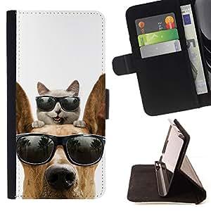 Momo Phone Case / Flip Funda de Cuero Case Cover - Gato Gran danés Sunglasses Shades verano; - Samsung Galaxy Note 5 5th N9200