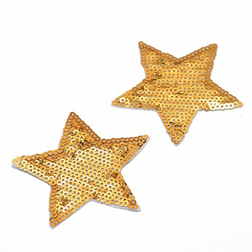 Iron On Sequins - GOLD Star Shape Sequin Iron-On Patch Applique by 4 pcs, 2-3/4