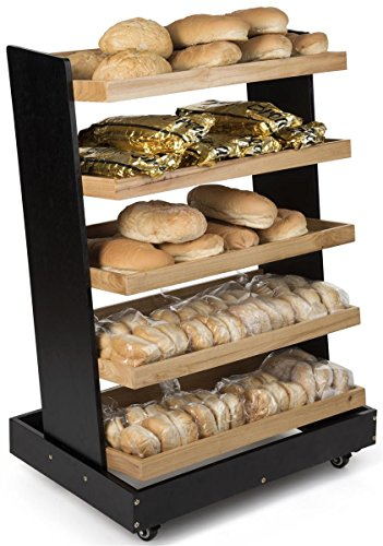 Displays2go, Wooden Display Rack for Produce, Rubber Wood Construction – Black, Oak Finish (MEDUPRT5RK) by Displays2go