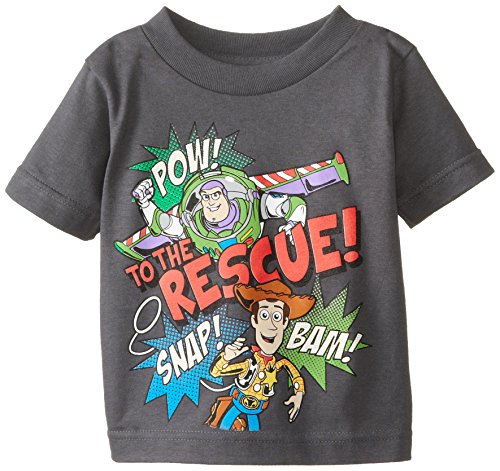 Disney Little Boys' Toddler Toy Story to the Rescue T-Shirt, Charcoal, 5T (Toy Story Shirts)