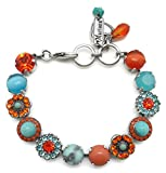 Mariana Swarovski Crystal Silver Plated Bracelet Aqua Orange Floral Mosaic M1079 Serengetti