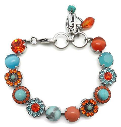 Mariana Swarovski Crystal Silver Plated Bracelet Aqua Orange Floral Mosaic M1079 Serengetti by Mariana