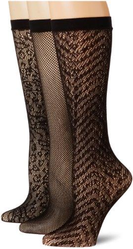 Ellen Tracy Women's 3 Pack Multi Animal Net Trousers, Black/Black/Black, One Size