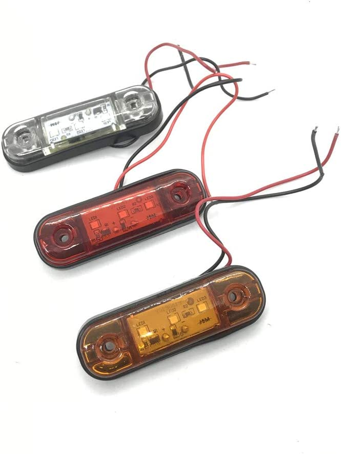 Qmcmc Accessoires de Voiture 10-30V Remorque Led Lumi/ères 3 Leds Feux de Position Lat/éraux Feux Davertissement pour Camion Van Ramassage