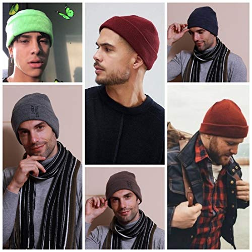 Men Women Winter Beanie Hat - Black Grey Gray Knit Supreme Watch Hat, Stocking Skull Cap Skullcap for Guys, CC Ideal Fashion Accessories