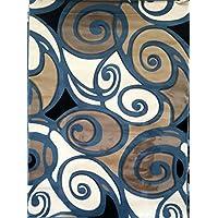 Modern Area Rug Abstract Sculpture Blue Design 241 (5 feet 2 inch x7 feet 3 inch )