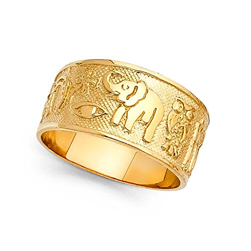 GemApex Elephant Owl Clover Horseshoe Lucky Ring Solid 14k Yellow Gold Good Luck Charm Band Fancy 10MM Size 9 (Gold Lucky Clover 14k)