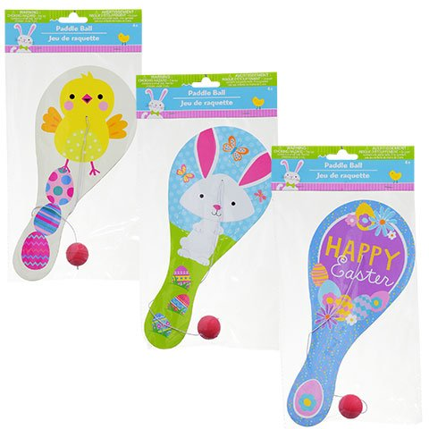 Easter Paddle Ball Sets Assorted Among 3 Styles Shown - Pack of 3 (Egg Shaped Porcupine Balls)