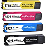 MYCARTRIDGE Replacement for HP 972A Ink Cartridge High Yield High Capacity Show Ink Level 4-Pack (1 Black 1 Cyan 1 Magenta 1 Yellow) Fit for PageWide Pro 452dn 452dw Printer