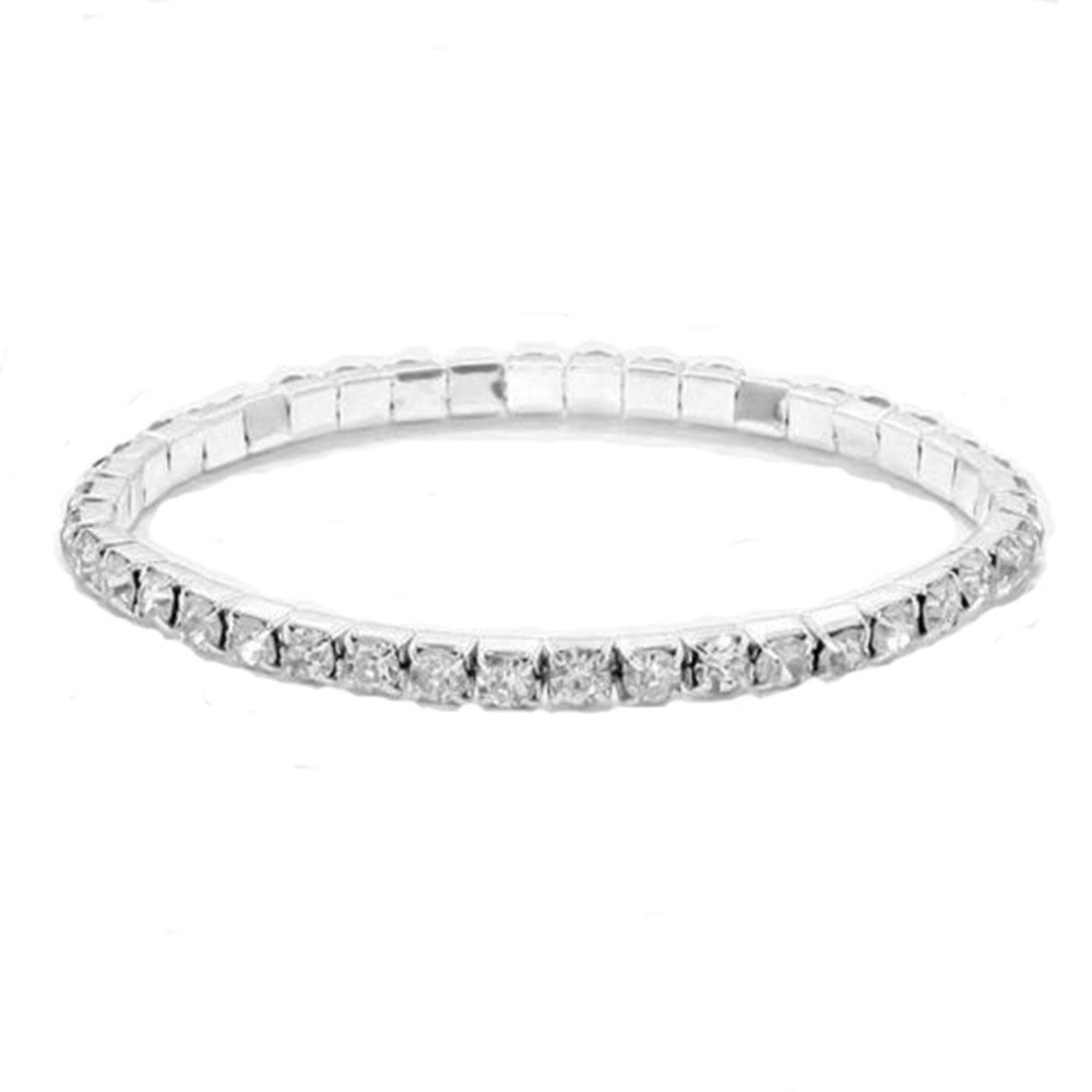 RIZILIA 1-Row Tennis Bracelet & Round Cut Rhinestone Ctystal [Simulated White Topaz] in White Gold Plated, 6 6 LB1255WHT